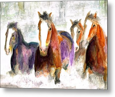 Snow Horses Metal Print by Frances Marino