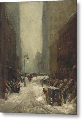 Snow In New York Metal Print by Robert Cozad Henri
