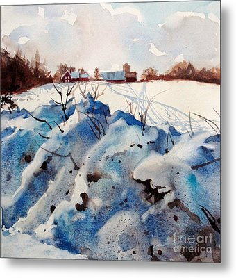 Snow On Southwick I Metal Print by Elizabeth Carr