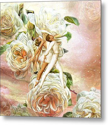 Snow Rose Ballet Metal Print by Carol Cavalaris