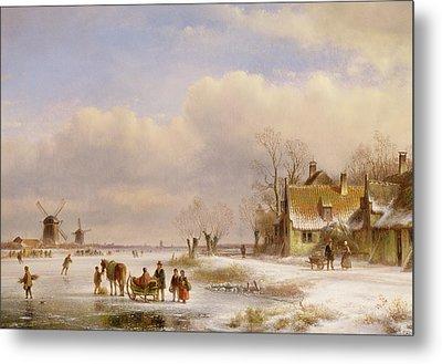 Snow Scene With Windmills In The Distance Metal Print by Lodewijk Johannes Kleyn