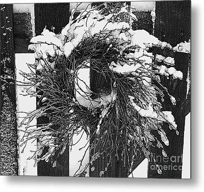 Snow Wreath Metal Print by Diane E Berry