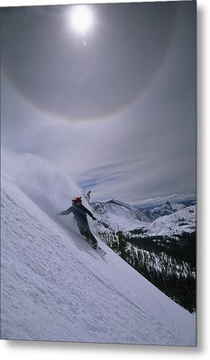 Snowboarding Down A Peak In Yosemite Metal Print by Bill Hatcher