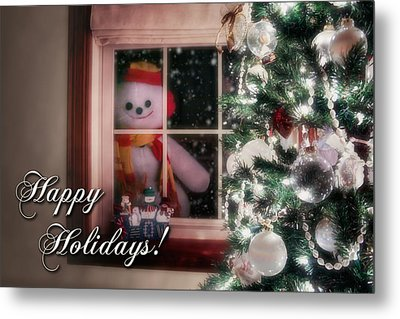 Snowman At The Window Card Metal Print by Tom Mc Nemar
