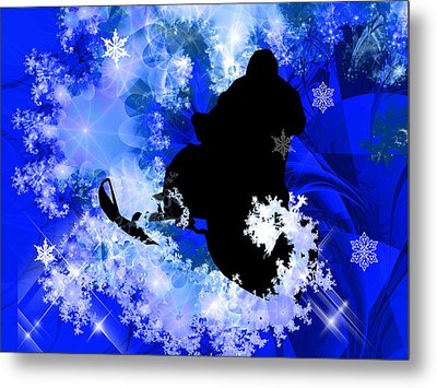 Snowmobiling In The Avalanche  Metal Print by Elaine Plesser