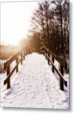 Snowy Bridge Metal Print by Wim Lanclus