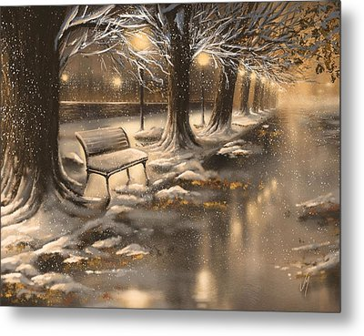 Snowy Night Metal Print by Veronica Minozzi