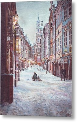snowy Sunday night in Prague Metal Print by Gordana Dokic Segedin