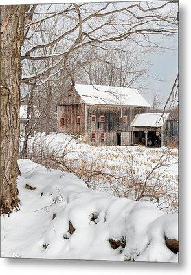 Snowy Vintage New England Barn Metal Print by Bill Wakeley