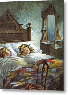 Snug In Their Bed On Christmas Eve Metal Print by William Roger Snow