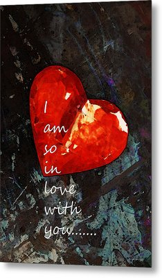 So In Love With You - Romantic Red Heart Painting Metal Print by Sharon Cummings