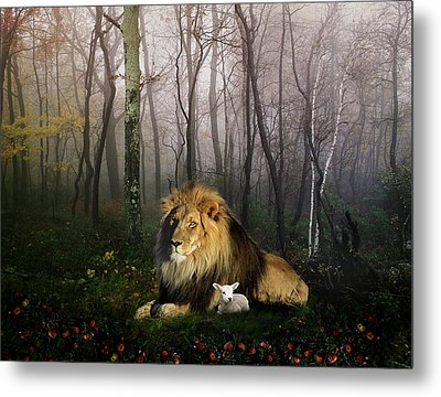 So The Lion Fell In Love With The Lamb Metal Print by Julie L Hoddinott