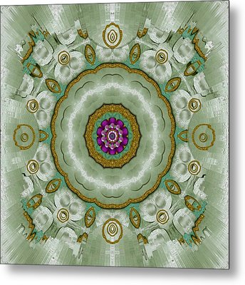 Soft And Sweet Lotus Floral In Greens Metal Print by Pepita Selles