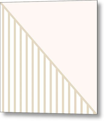 Soft Blush And Champagne Stripe Triangles Metal Print by Linda Woods