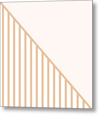 Soft Blush And Coral Stripe Triangles Metal Print by Linda Woods