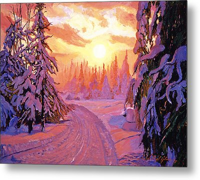 Soft Snow Sunrise Metal Print by David Lloyd Glover