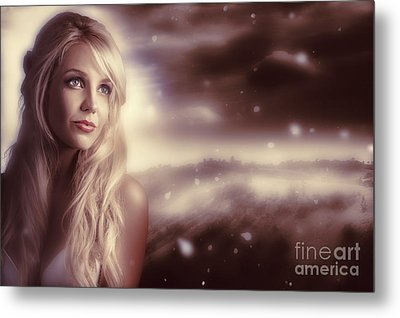 Soft Young Elegant European Woman In Winter Snow  Metal Print by Jorgo Photography - Wall Art Gallery