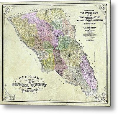 Sonoma County Map 1900 Metal Print by Jon Neidert
