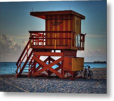 South Beach Lifeguard Station 002 Metal Print by Lance Vaughn