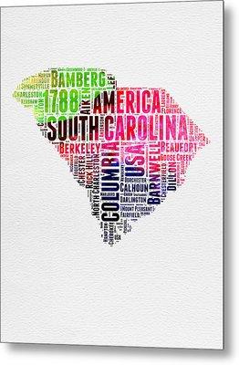 South Carolina Watercolor Word Cloud Metal Print by Naxart Studio