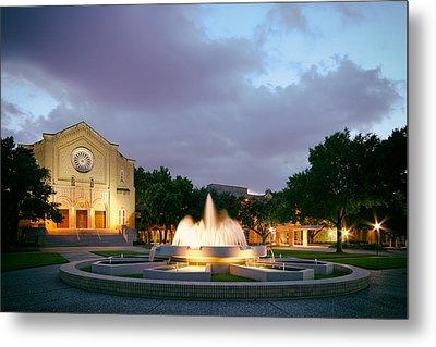 South Main Baptist Church At Twilight - Midtown Houston Texas Metal Print by Silvio Ligutti