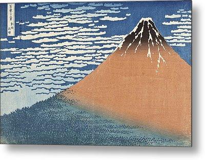 South Wind Clear Dawn Metal Print by Katsushika Hokusai