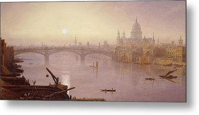 Southwark Bridge And St. Paul's Cathedral From London Bridge  Evening Metal Print by George Fennel Robson