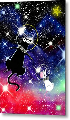 Space Cat Metal Print by Andrew Hitchen