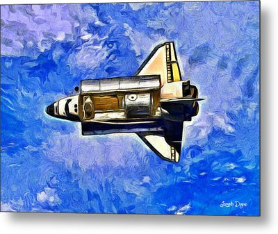 Space Shuttle In Space - Da Metal Print by Leonardo Digenio