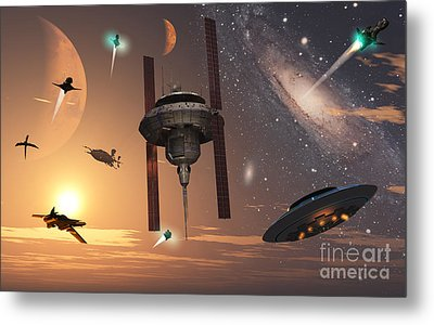 Spaceships Used By Different Alien Metal Print by Mark Stevenson