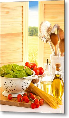 Spaghetti And Tomatoes In Country Kitchen Metal Print by Amanda Elwell