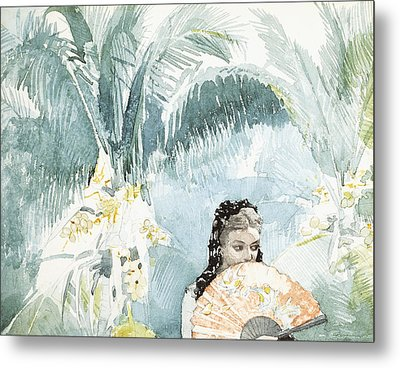 Spanish Girl With A Fan Metal Print by Winslow Homer