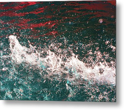 Sparkling Water Red Metal Print by HollyWood Creation By linda zanini