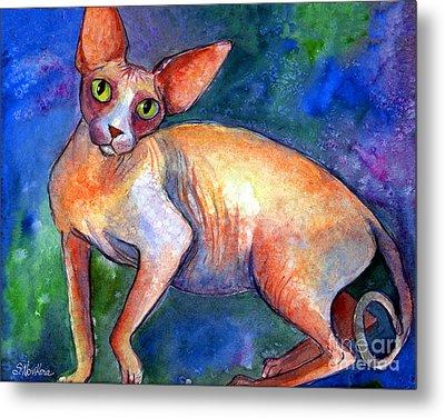 Sphynx Cat 4 Painting Metal Print by Svetlana Novikova