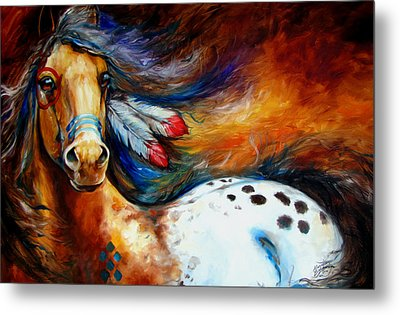 Spirit Indian Warrior Pony Metal Print by Marcia Baldwin