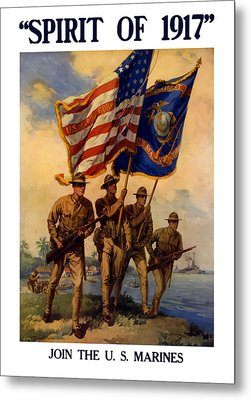 Spirit Of 1917 - Join The Us Marines  Metal Print by War Is Hell Store
