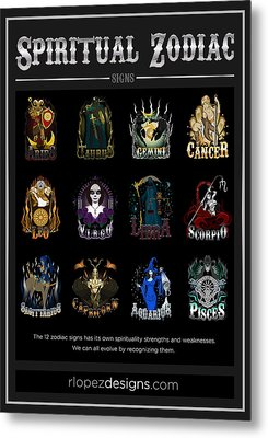 Metal Print featuring the digital art Spiritual Zodiac Signs by Raphael Lopez