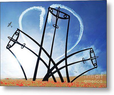 Spitfire Sentinel In The Field Of Poppies  Metal Print by Eugene James