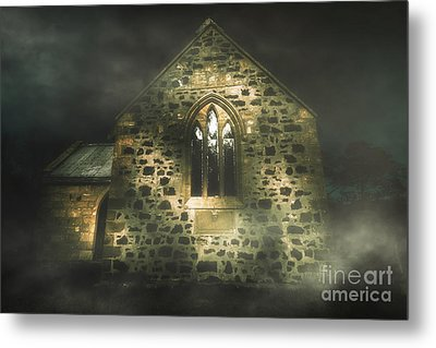 Spooky Stone Church In A Haunted Winters Night Metal Print by Jorgo Photography - Wall Art Gallery