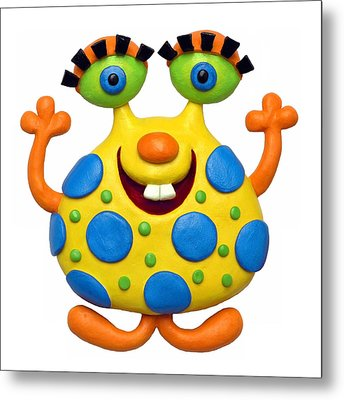 Spotted Yellow Monster Metal Print by Amy Vangsgard