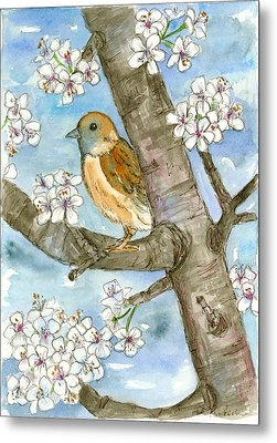 Spring Blossoms Sparrow Metal Print by Cathie Richardson