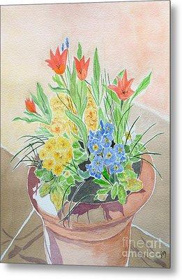 Spring Flowers In Pot Metal Print by Yvonne Johnstone