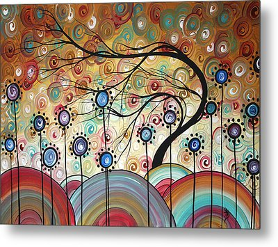 Spring Flowers Original Painting Madart Metal Print by Megan Duncanson