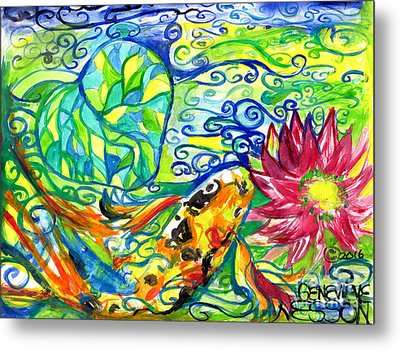 Spring Koi Fish With Water Lily Metal Print by Genevieve Esson