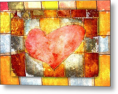 Squared Heart Metal Print by Carol Leigh