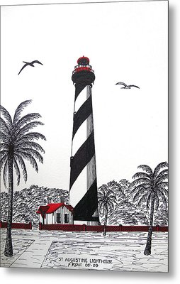 St Augustine Lighthouse Drawing Metal Print by Frederic Kohli