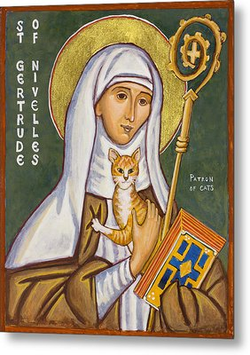 St. Gertrude Of Nivelles Icon Metal Print by Jennifer Richard-Morrow