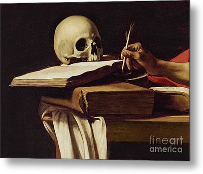 St. Jerome Writing Metal Print by Caravaggio