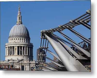 St Pauls Cathedral And The Millenium Bridge  Metal Print by David Pyatt