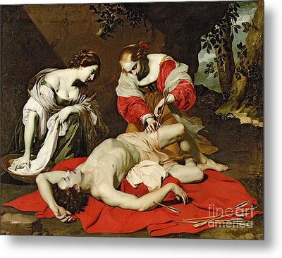 St Sebastian Tended By The Holy Irene Metal Print by Nicholas Renieri